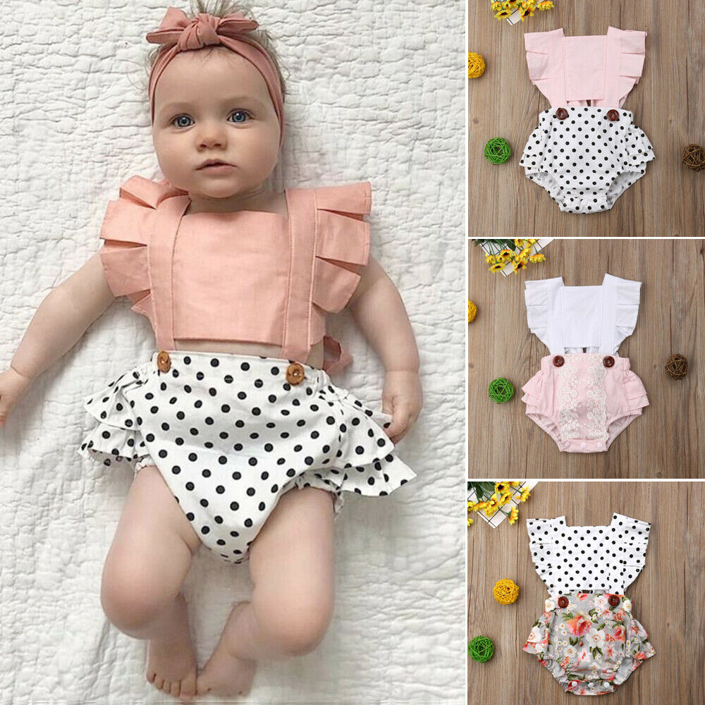 Summer Newborn Infant Baby Girls Lace Floral One-Piece Ruffle   Romper   Jumpsuit Blackless Playsuits Sunsuit Clothes 0-24M