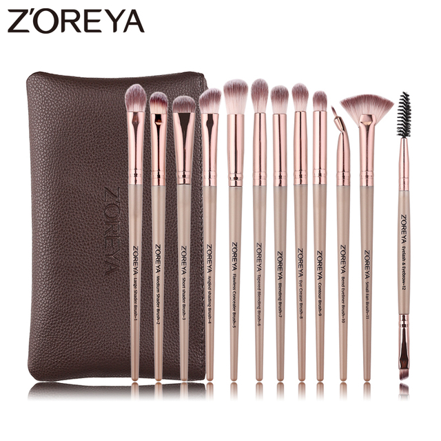 ZOREYA 12pcs professional Makeup Brushes Black Color Eye Shadow Make Up Brush Set Blending Eyeliner Brow Small Fan Cosmetic Tool