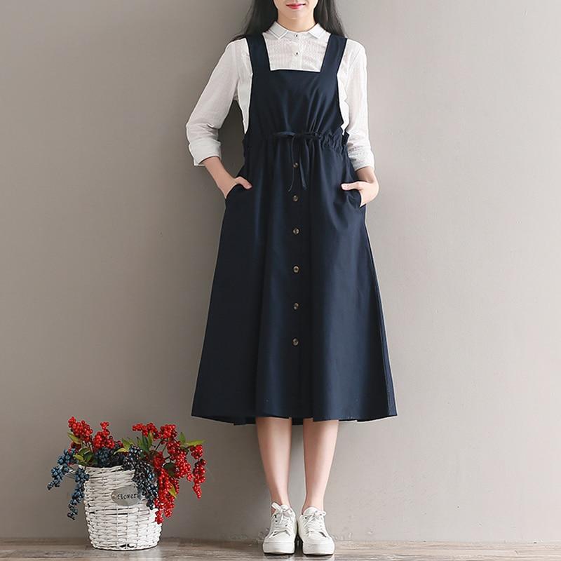2019 Spring Summer Women Sleeveless Vintage Dress Navy Blue Cotton Linen Casual Loose Vestidos Spaghetti Strap Female Dress 2XL in Dresses from Women 39 s Clothing