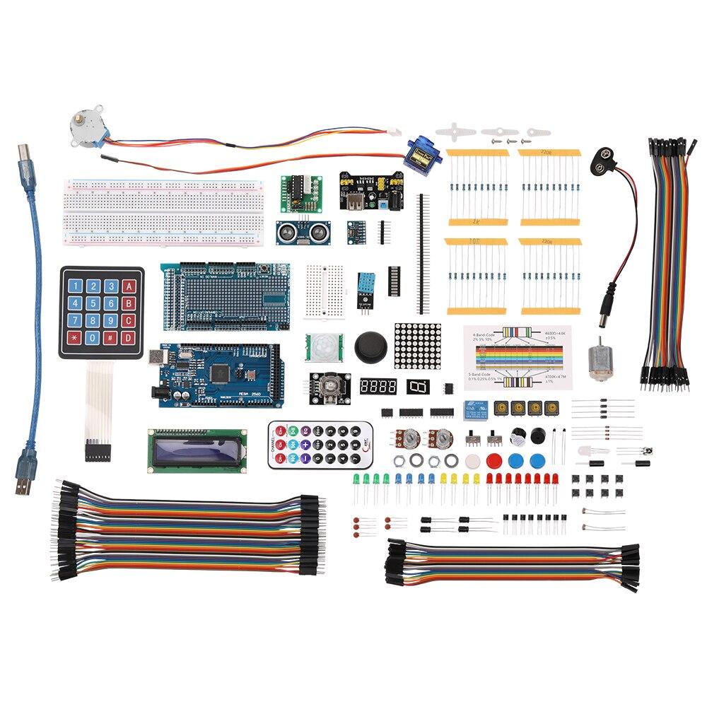 DIY Composant électronique Ensemble avec Boîte En Plastique Adapté Ultime Starter Kit D'apprentissage pour Arduino MEGA 2560 LCD1602 Servo Moteur