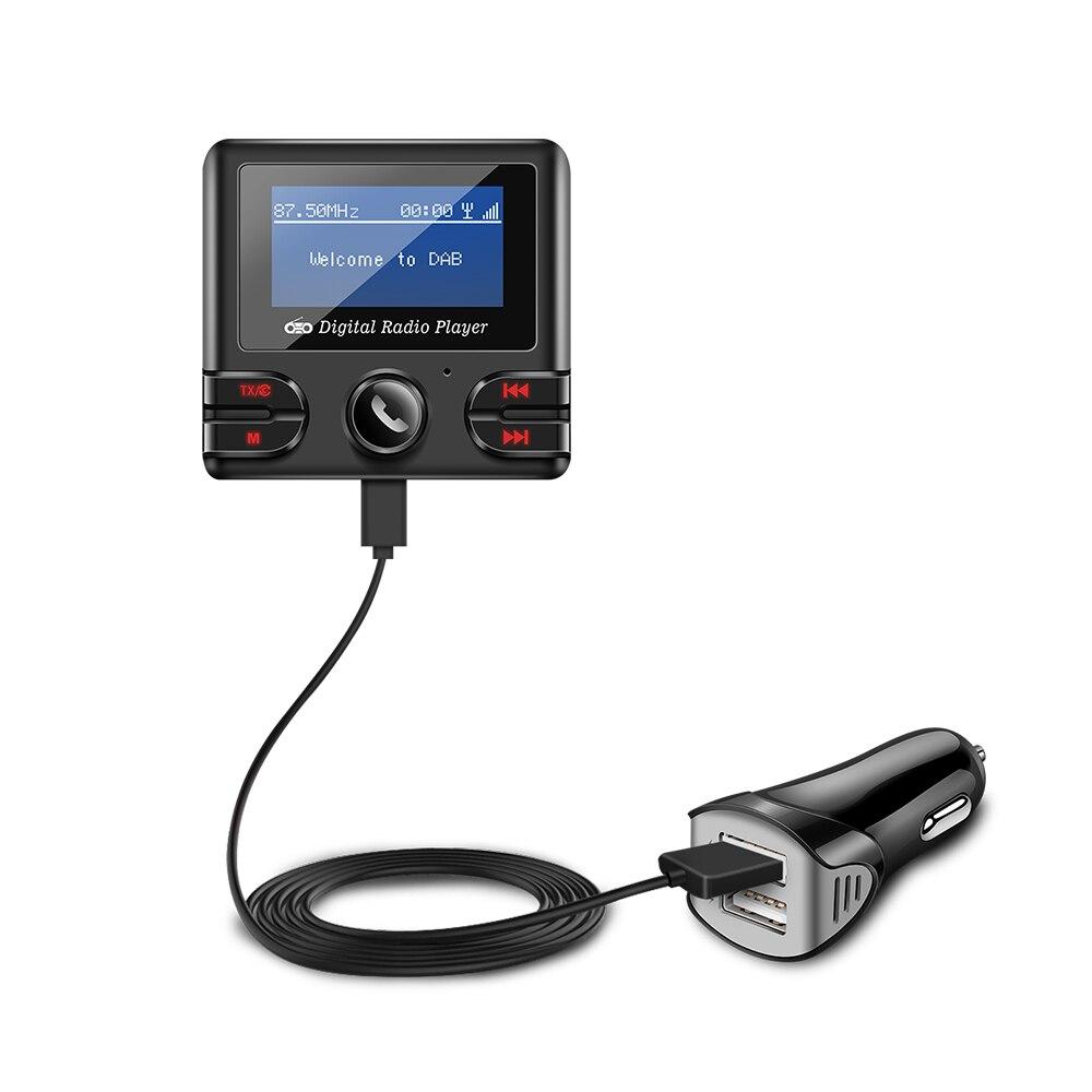 Kit de voiture Bluetooth récepteur DAB lecteur de musique transmetteur FM Support carte TF/Max 32G chargeur de voiture 2.1A double USB chargeur de voiture