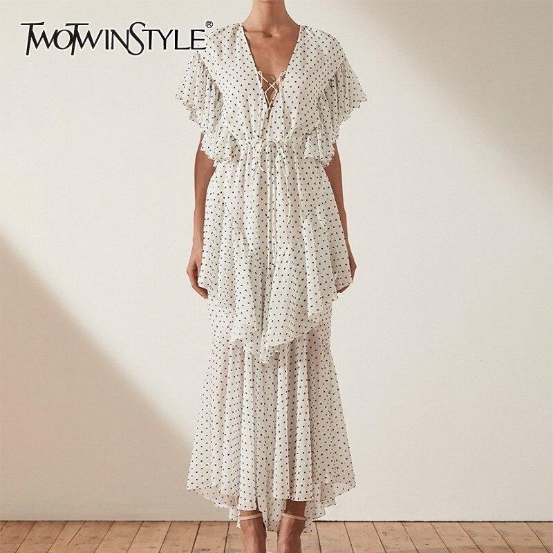 TWOTWINSTYLE Polka Dot Dress Women V Neck High Waist Bandage Ruffles Short Sleeve Maxi Dresses Female