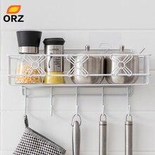 ORZ Home Storage Organizer Holder with Hook Wall Mount Bathroom Shelf Kitchen Spice Rack Shower Caddy Hanger Basket