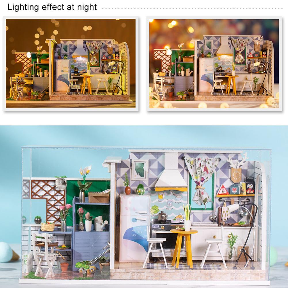 Kit de maison de poupée Miniature en bois bricolage artisanat de maison d'art cadeau d'anniversaire parfait pour les filles bricolage Kit de cabane de poupée