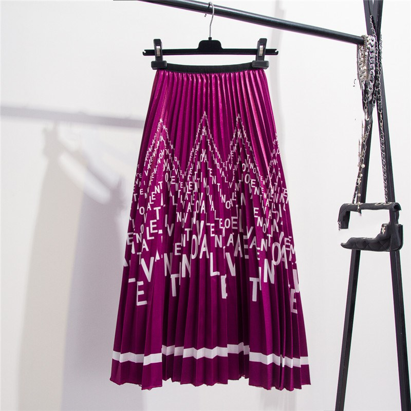 2019 Women Bohemian Satin Letters Floral Print Skirts Elastic Waist Shinning Beach Holiday Pleated Midi Skirts in Skirts from Women 39 s Clothing