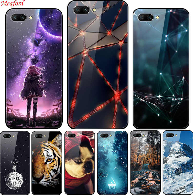 "5.84"" Case For For Huawei Honor 10 Case Luxury Tempered Glass Hard PC Back Cover For For Huawei Honor 10 Case TPU black Frame"