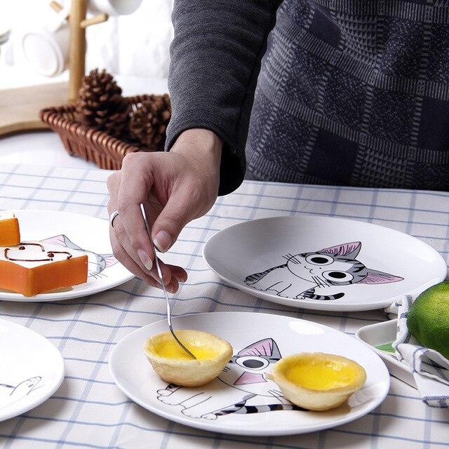 Dessin animé chat en céramique assiette créative Cuisine plat mignon blanc plaque Steak riz soupe os chine vaisselle cadeau céramica plat 1