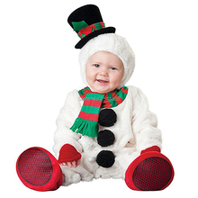 Infant Toddlers Baby Boys Girls Snowbaby Snowman Costume Halloween Party Cosplay Costumes for Christmas Purim Holiday Jumpsuit
