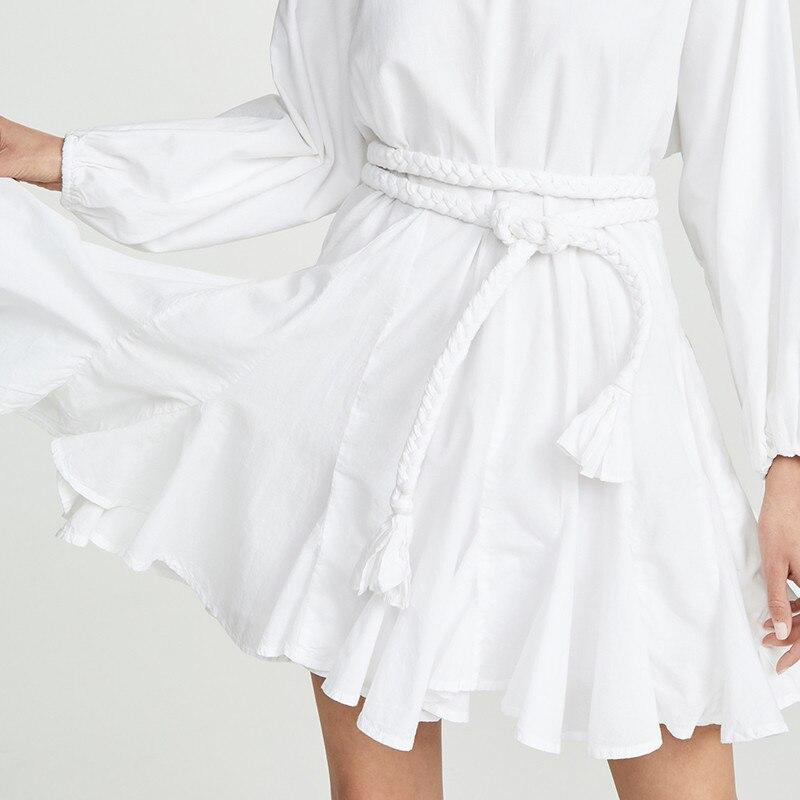 Image 4 - TWOTWINSTYLE White Dresses Women O Neck Lantern Sleeve High Waist  Bandage Mini Pleated Dresses Female 2020 Casual FashionDresses   -