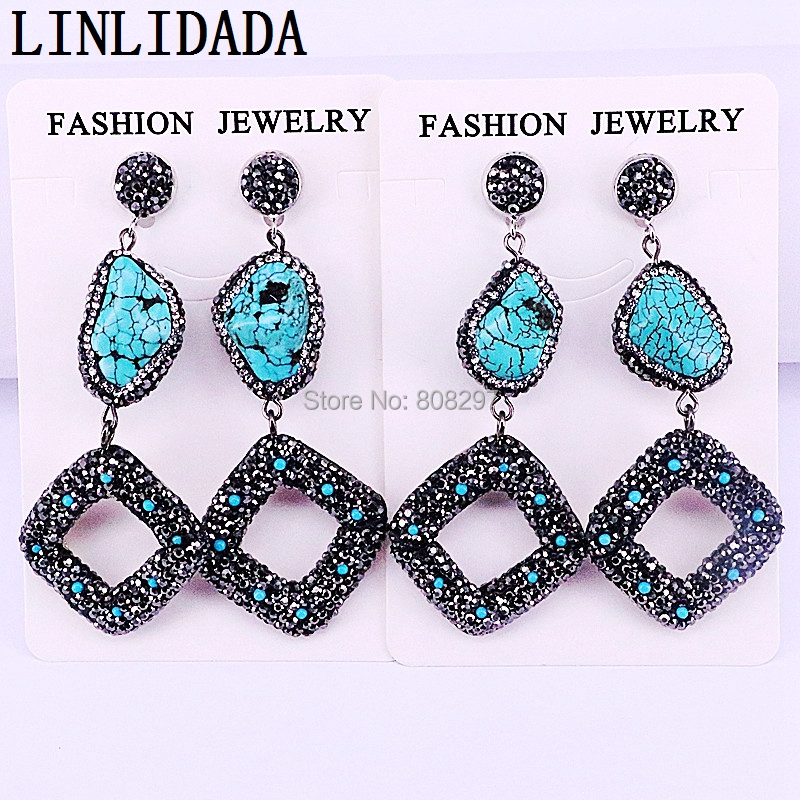 3Pair Gems Drop Dangle Earrings For Woman Jewelry Pave Crystal Rhinestone Freedom shape Blue Stone Earring