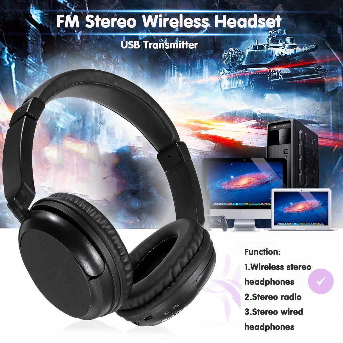 Ws 3680 Tv Stereo Wireless Headset Usb Transmitter Long Distance Wireless Transmission For Pc Mobile Phone Mp3 Aliexpress