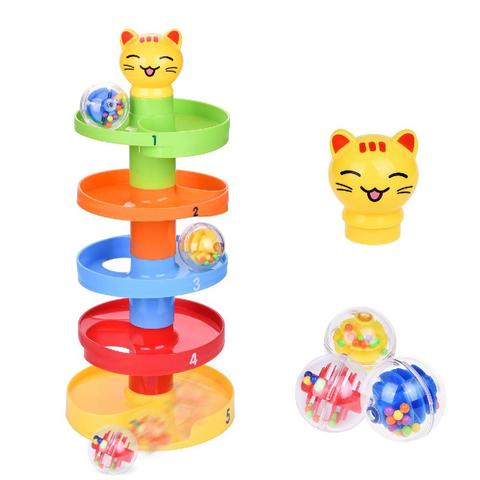 rctown rotacao 5 camada multi colorido esferico rampas com sino brinquedo dos desenhos animados para