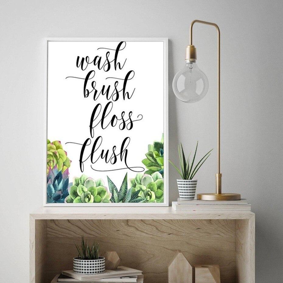 Modern Wash brush Floss Flush Bathroom Decor Cactus Print ...
