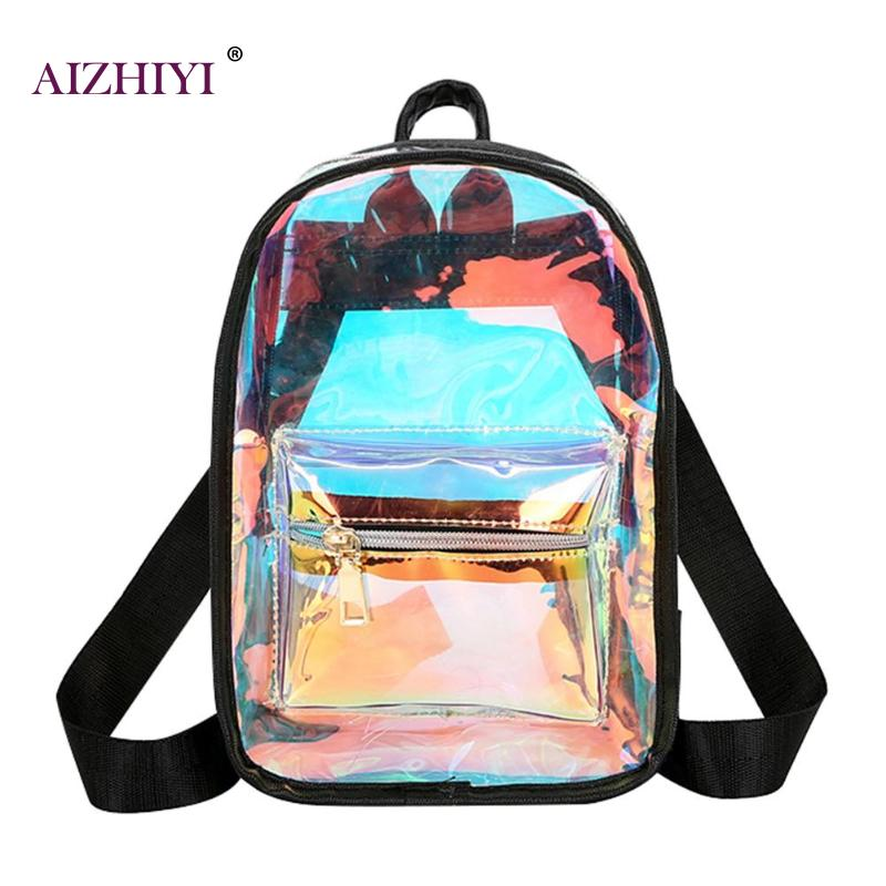 Women Backpack PU Leather Laser Transparent Casual Large Capacity High Quality Travel Casual Gril School Bags Shoulder BagWomen Backpack PU Leather Laser Transparent Casual Large Capacity High Quality Travel Casual Gril School Bags Shoulder Bag