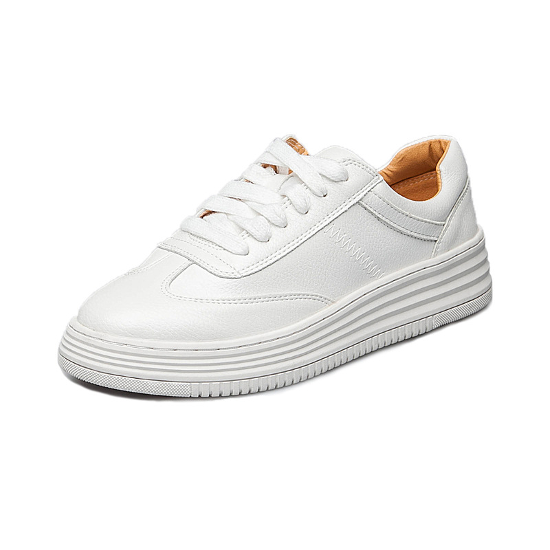 2018 Fashion Women Shoes Platform Sneakers Ladies Lace-up Casual Shoes Breathable Walking Genuine Leather Shoes White Flat Girl