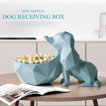 home decoration accessories for living room table resin Animal statue Crafts candy nut key phone storage box dog figurine