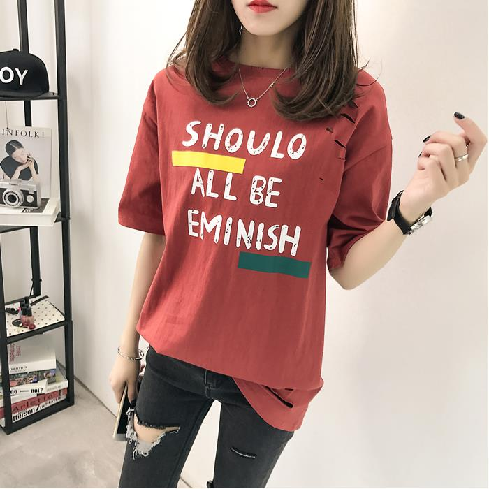 XL- 4XL 2019 new plus size summer loose High Street hole Letter print short sleeve O-Neck women T-shirt top tee TY5 1