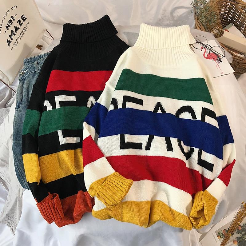 Hiver nouveau col haut chandail hommes décontracté couleur rayé lâche à manches longues tricot pull homme mode mâle vêtements M-2XL