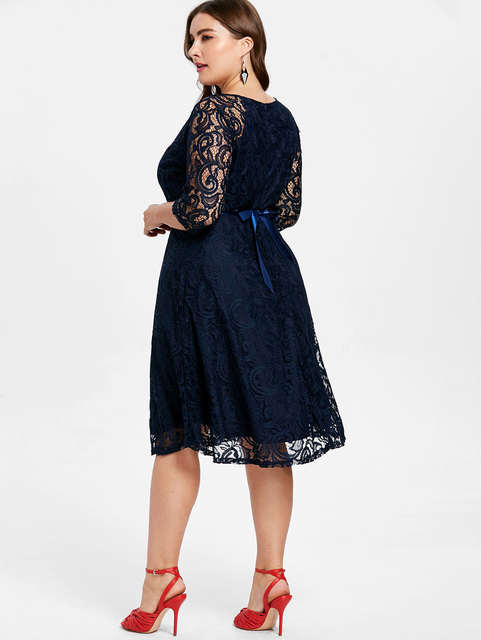 d951955418 US $15.74 48% OFF|Wipalo Women Tied Belted Plus Size Lace Knee Length Dress  Solid V Neck Three Quarter Sleeve A Line Party Dress 4XL Vestidos-in ...