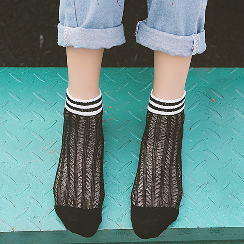 Chic Streetwear Women's Harajuku Breathable White Black Cotton Socks Sexy Hollow out Striped Nets Socks Ladies Sweet Mesh Sox