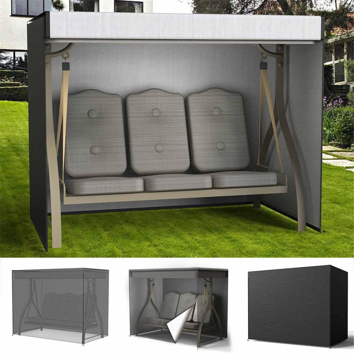 Couverture résistante imperméable de siège d'oscillation Patio de jardin Protection de hamac de 3 places Protection UV de meubles couverture noire 220x170x145 cm