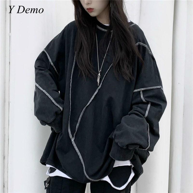 Harajuku Women Long Sleeve T-shirt Casual O-neck Sweatshirt Oversized Fleece