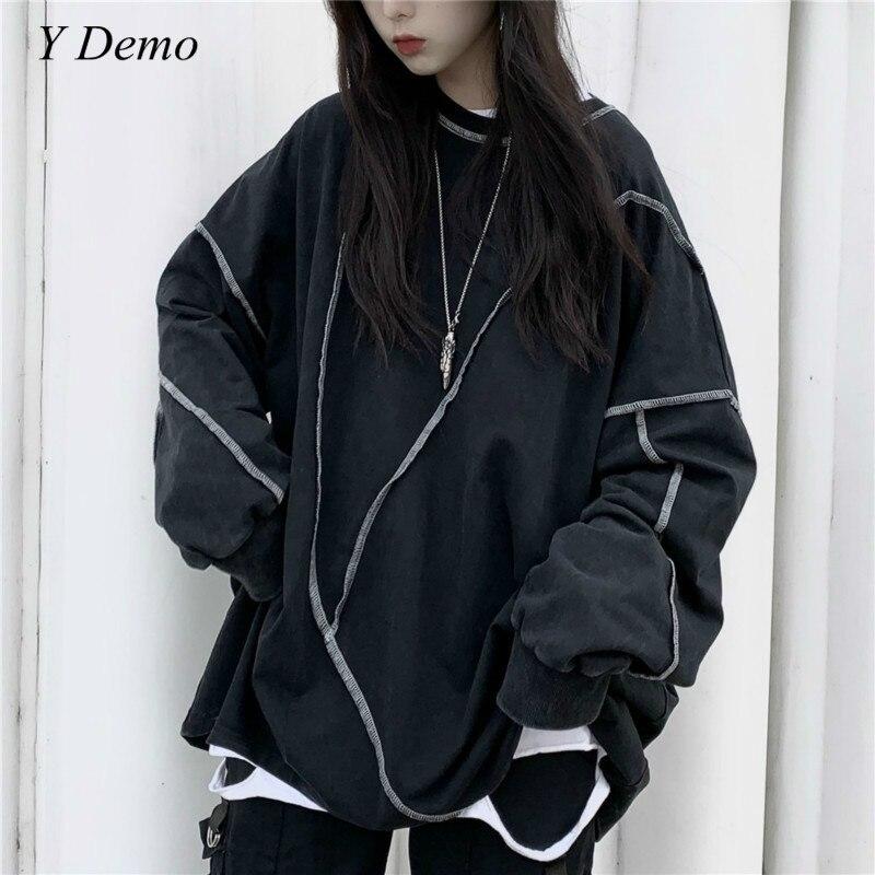 Harajuku Women Long Sleeve T-shirt Casual O-neck Sweatshirt Oversized Fleece
