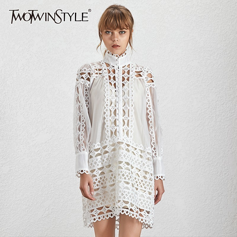 TWOTWINSTYLE Solid Hollow Out Patchwork Women s Dress Stand Collar Long Lantern Sleeve A Line Dresses