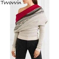 Women Sweater Slash Neck Backless Sexy Knitted Pullover Long Sleeve Patchwork Winter Coat Women Irregular Woman Tops L321