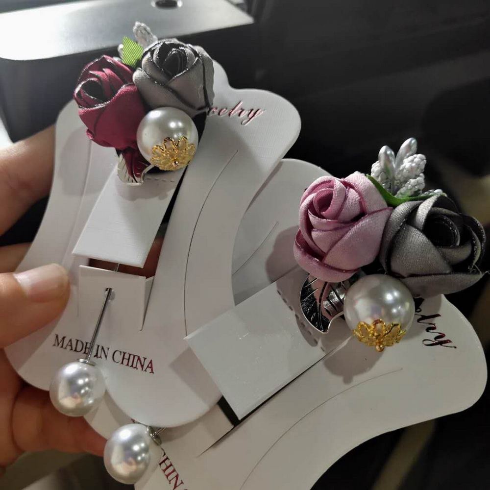 Shawl Pin Coat Cardigan-Shirt Jewelry-Accessories Badge Flower-Brooch Cloth Fabric Pearl
