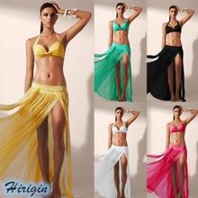 Summer Casual Skirts HOT Women Elastic High Waist Solid Long Split Swimwear Cover Up