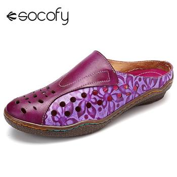 SOCOFY Genuine Leather Splicing Flowers Pattern Hollow stitching Comfortable Slip On Sandals Retro Bohemian Ladies Shoes Summer