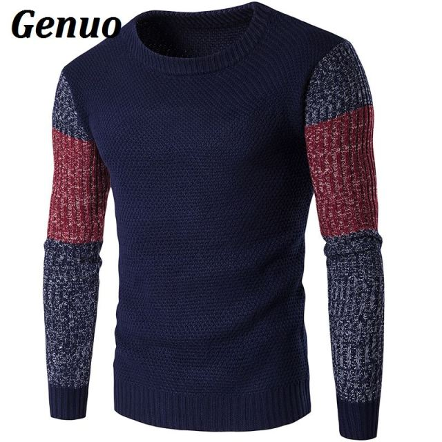 Men's Casual Vintage Patchwork Color Block Sweater Long Sleeve O-Neck Slim Knitted Sweaters Pullovers Jumpers Genuo Warm Tops