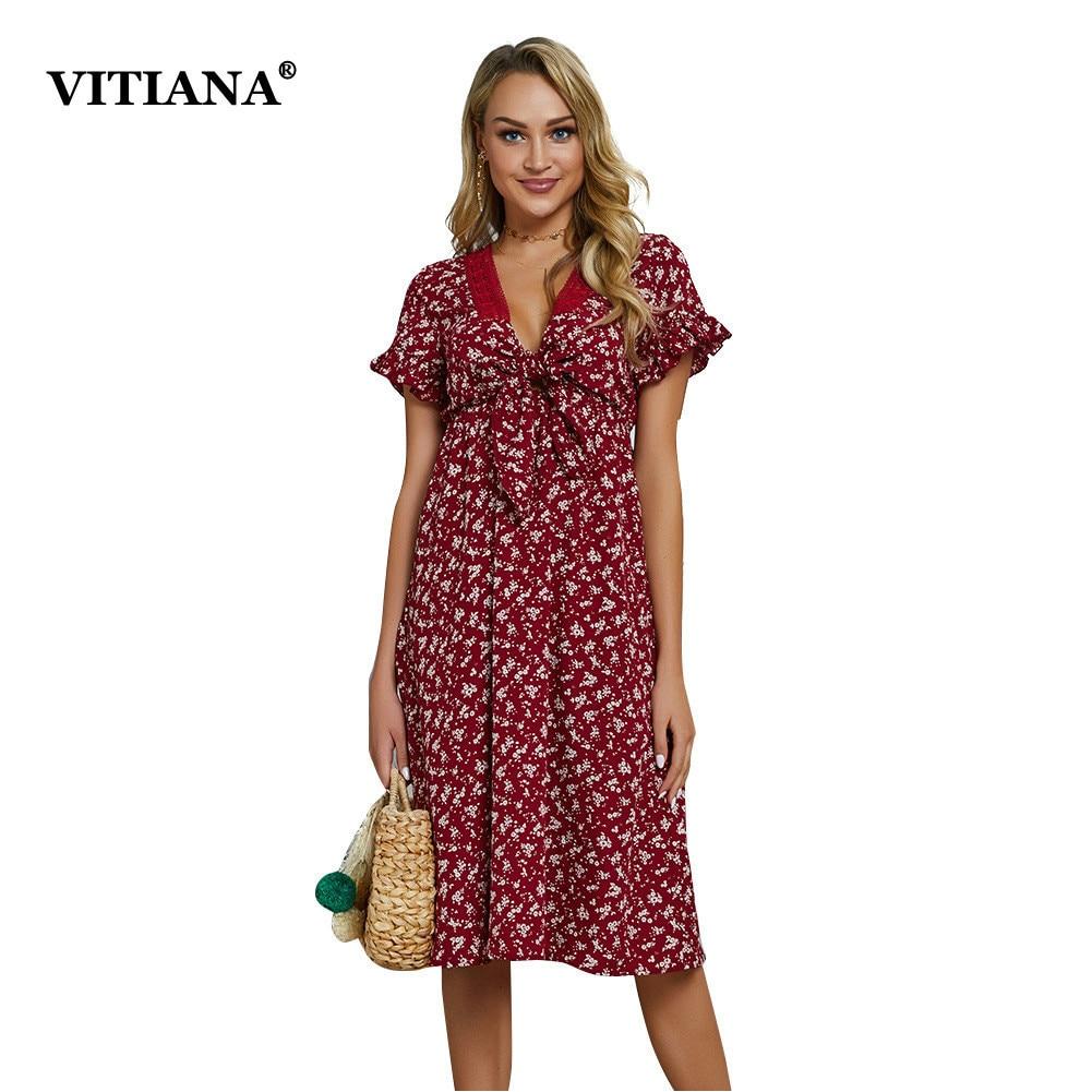 VITIANA Women Casual Beach Dress 2019 Summer Female Wine Red Deep V Neck Print Bohemian Pleated Party Midi Dresses Vestidos