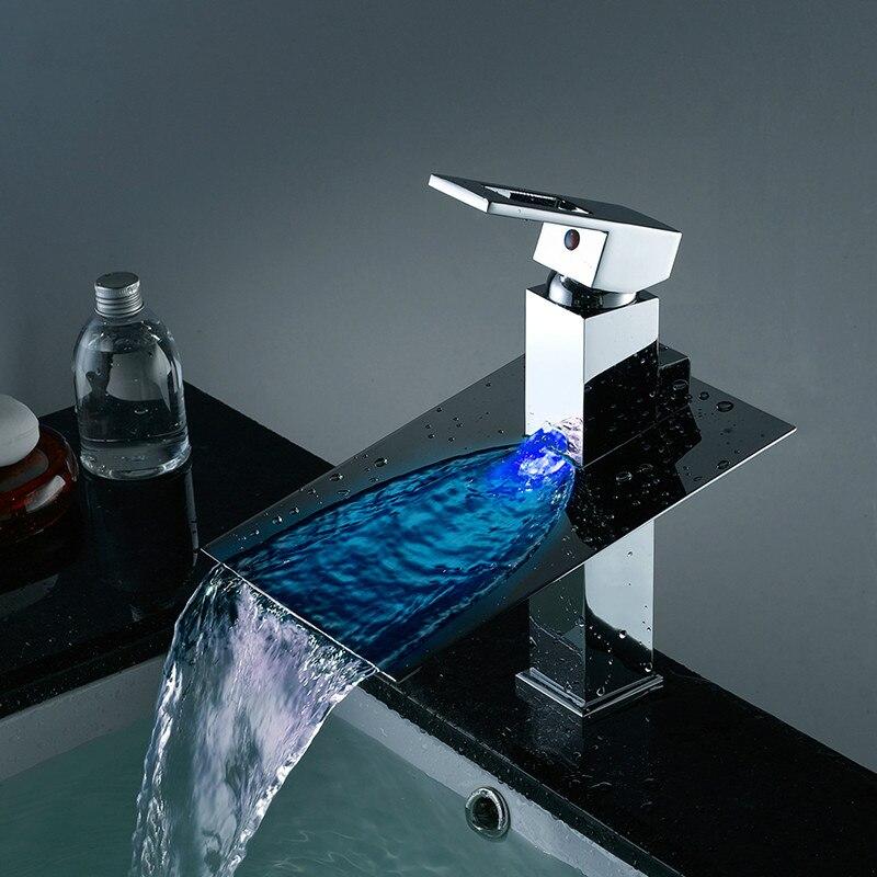 Salle de bain bassin robinet à Led alimenté par l'eau Led cascade robinet 3 couleurs changé par la température de l'eau bassin évier mélangeur