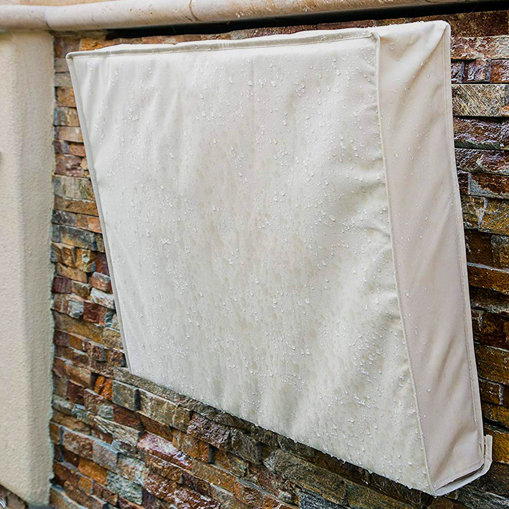 <font><b>Outdoor</b></font> <font><b>TV</b></font> <font><b>Cover</b></font> Beige Weatherproof Universal Protector for LCD, LED, Plasma Television Screens. Built in Bottom <font><b>Cover</b></font> and Rem image