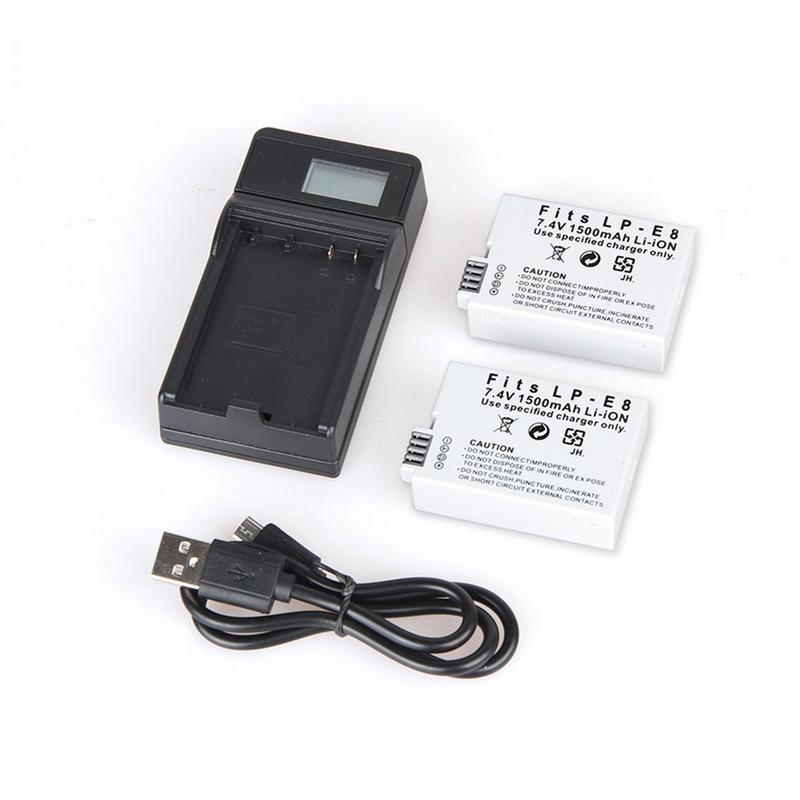 2PCS Camera Batteries LCD Camera Battery Charger with Single USB Port USB Cable for Canon LP-E8 Digital Camera