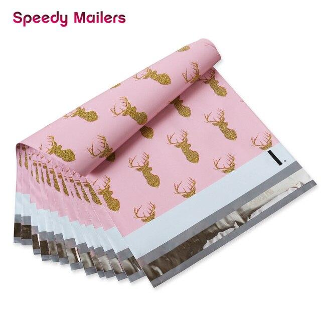 Schnelle Mailer 100PCS 260x330mm 10x13/zoll Gedruckt Weihnachten Hirsch Muster Poly Mailer Selbst abdichtung Kunststoff Umschlag Taschen