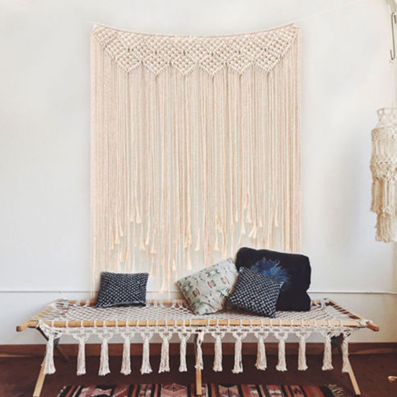 Cotton Rope  Macrame Knitted Rope Woven Tassel Wall Hanging Handmade Tapestry Bohemian Decor Bedroom UpholsteryCotton Rope  Macrame Knitted Rope Woven Tassel Wall Hanging Handmade Tapestry Bohemian Decor Bedroom Upholstery