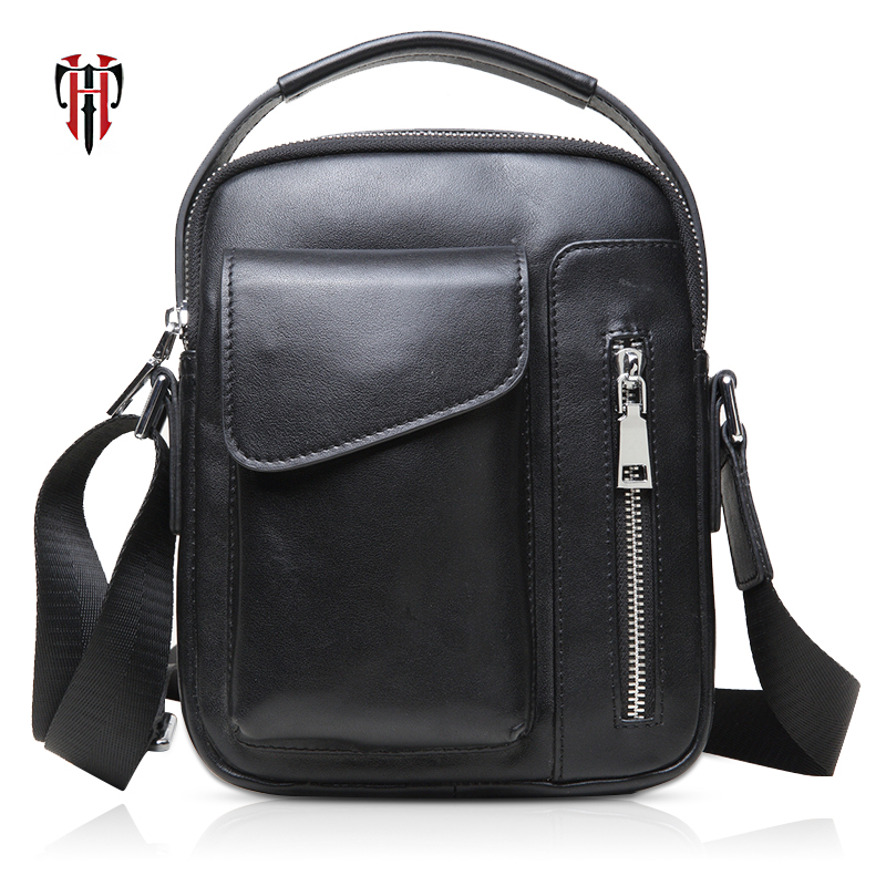 TIANHOO business man bags hand bags fashion genuine leather black package for men male totes