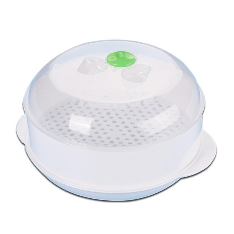 Single-Layer Microwave Oven Steamer Plastic Round Steamer Microwave Steam Basket With Lid Cooking Tool Safe And Non-toxic