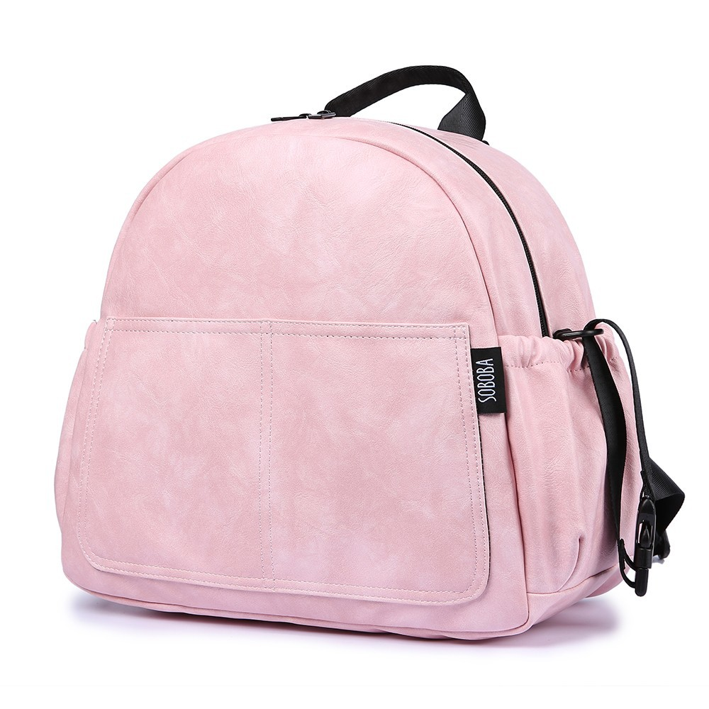 New Fashion Diaper Bag for Mother Pink Large Capacity Solid Baby Bag Backpack with 2 Straps