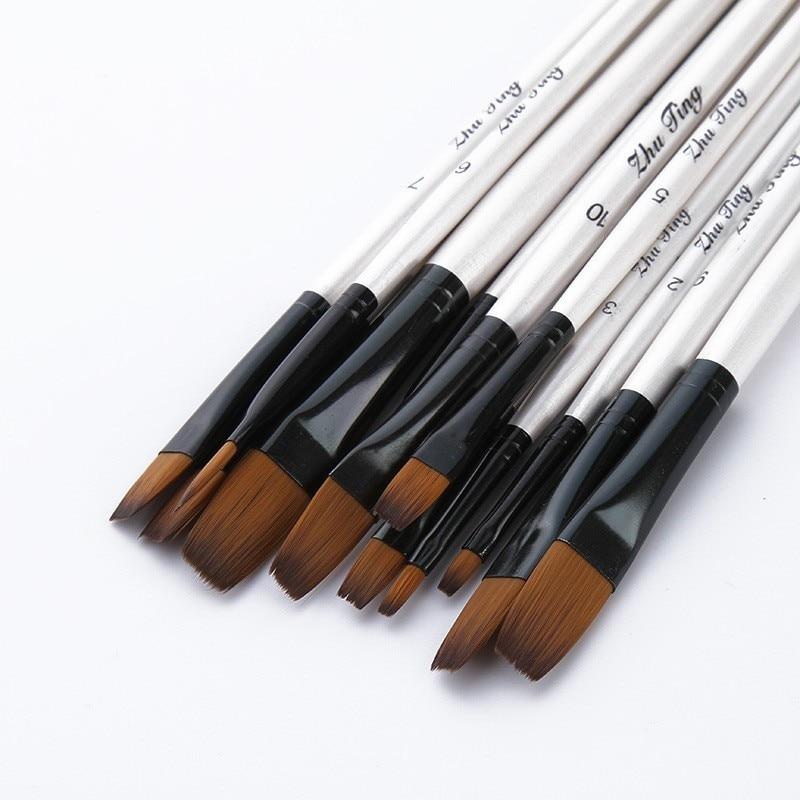 12 PCS/lot Wooden Handle Nylon Hair Paint Brushes Professional Oil Watercolor Paintbrush Set Painting Drawing Art Supplies 03151