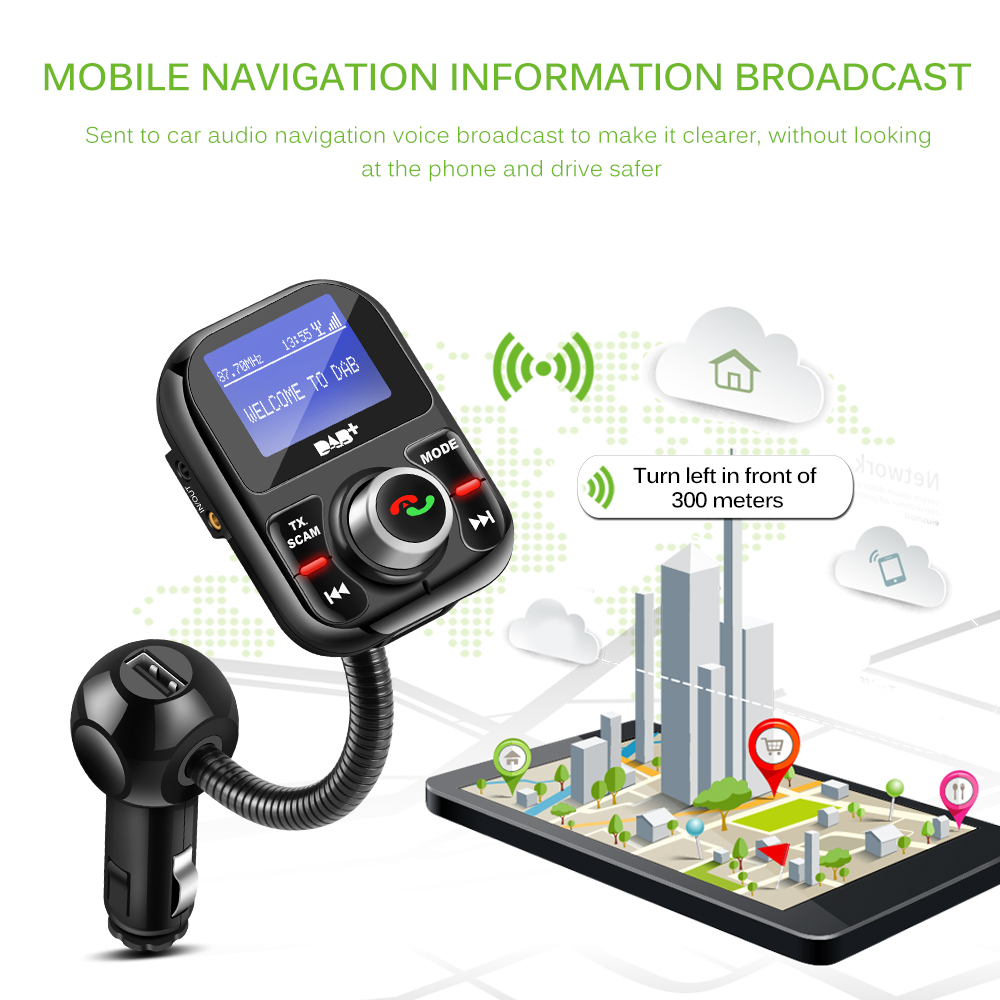 Émetteur FM Bluetooth de voiture DAB/DAB + récepteur avec antenne 3.1A double USB chargeur de voiture prise en charge de la carte TF et AUX u-disk OUT