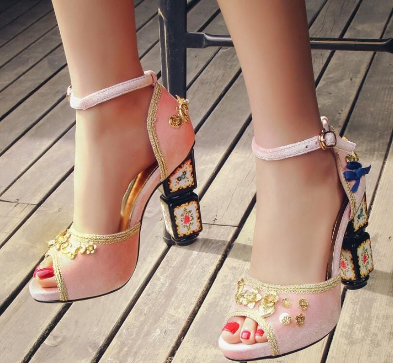 rosado Alto Extraño rojo De Sandalias Fiesta Estilo Mejor La Cuadrado Negro Tacón Zapatos Diseño Chica Sexy Moda Calidad Dama 00fnR4WT