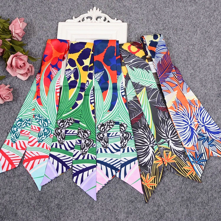 Butterfly Leaf Print Silk   Scarf   Luxury Brand Bag   Scarf   For Women Head Skinny   Scarf   Long Handle Bag   Scarves     Wraps   Drop Shipping