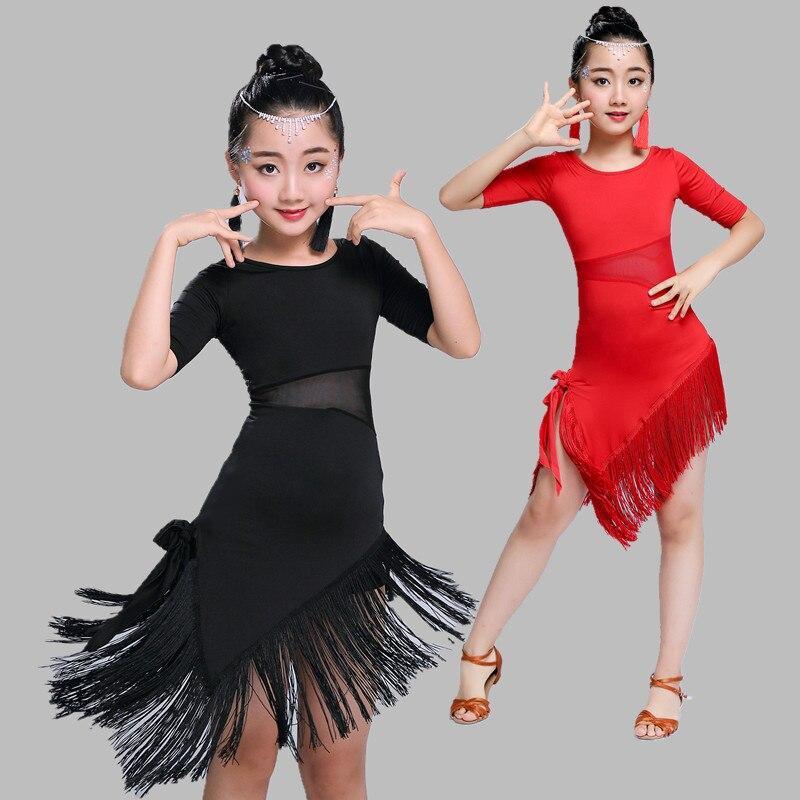 2019 Promotion Real Girls Latin Dance Dress Children's Latin Dance Skirt Girls' Dress Summer Contest Grading Performance Tassel
