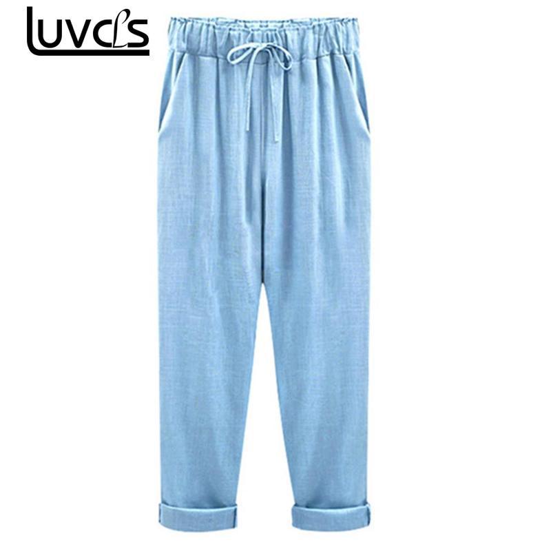 LUVCLS Summer   Pants   For Women High Waist Harem   Pants   Women Bowtie Belt Slim Ankle-length   Pant   Women's Casual   Capris   With Pockets