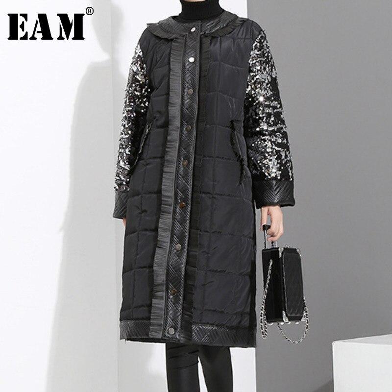 [EAM]2018 New Autumn Winter Round Neck Long Sleeve Black Sequins Split Joint Loose Cotton-padded Coat Women   Parkas   Fashion JK281