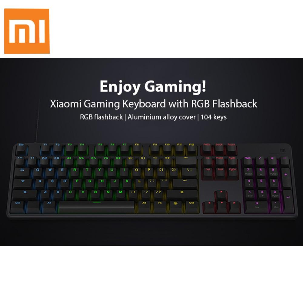 Оригинальный Xiaomi Механическая игровая клавиатура 1,8 м USB 2,0 Проводная с RGB Flashback 104 ключи черный английский